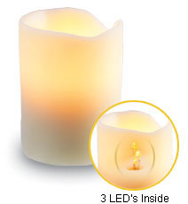 3 X 8 Flameless Ivory Drip Wax Battery Operated Candle