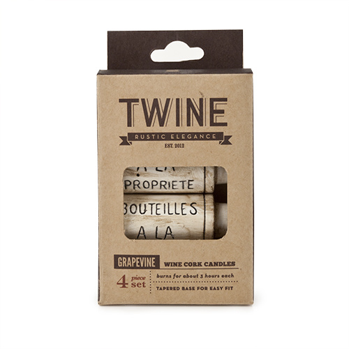 GRAPEVINE: WINE CORK CANDLES    Set of 4