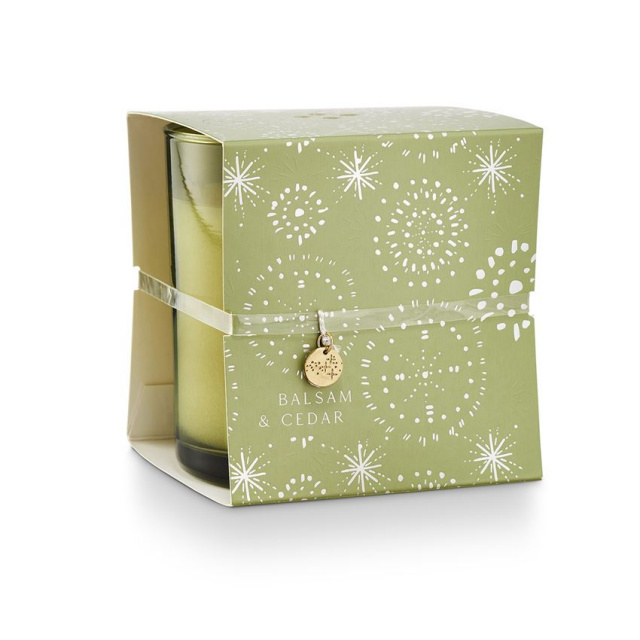 Illume Balsam & Cedar Holiday Wrapped Candle with Charm