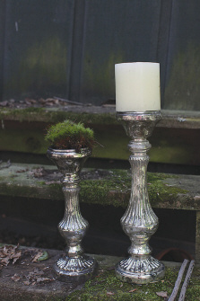 "12"" Mercury Glass Candle Holder for 3"" Pillar Candle"